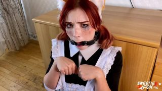 Fox maid cosplayer gives sloppy blowjob