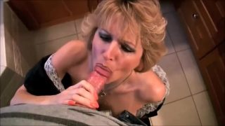 Mature maid cosplayer sucks cock and swallows