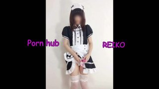 Asian maid cosplayer ordered to show her panties by master
