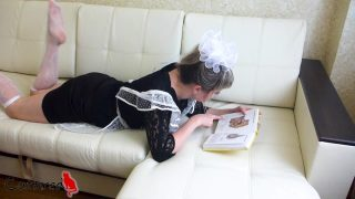 Maid cosplayer gets turned on by pictures in anatomy textbook