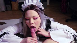 Teen maid cosplayer giving sloppy POV blowjob
