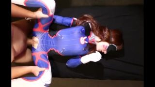 Blindfolded D.Va cosplayer gets rough fuck through ripped bodysuit