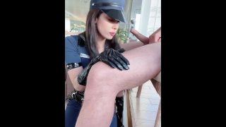 Sexy police officer cosplayer getting fucked hard and sucking cock