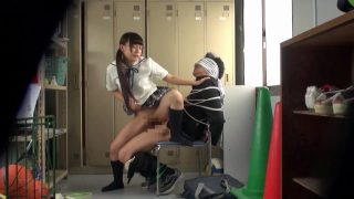 Schoolgirl cosplayers bully and fuck guy in locker room
