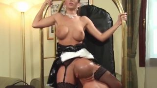 Gorgeous latex maid cosplayer getting anal fuck from hotel guest