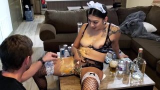 Latina maid cosplayer gets pussy covered in food and teased