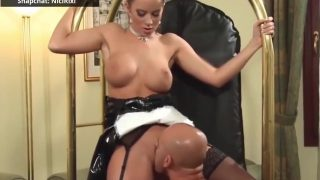Latex maid cosplayer getting fucked by her boss
